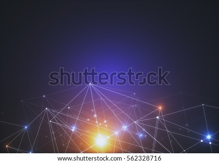 Abstract connected dots on bright background. Technology concept Royalty-Free Stock Photo #562328716