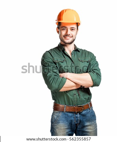 Young construction workers in hard hats on a white background #562355857