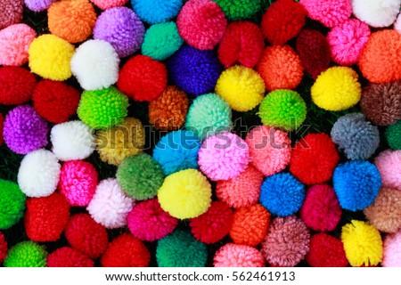 Colorful of Pom Pom for Background. #562461913