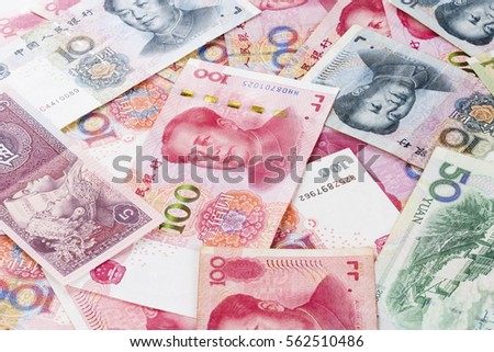 Background collage of Chinese Rmb bank notes #562510486