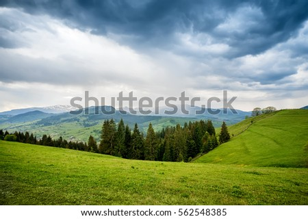 natural summer background with field of fresh green grass, beautiful blue cloudy sky and mountain view on horizon #562548385