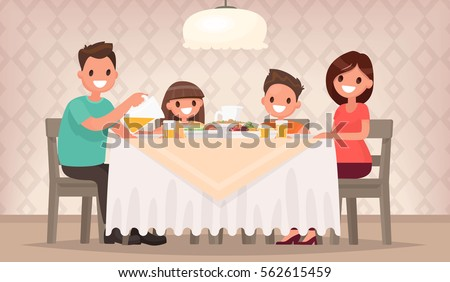 Family meal. Father mother, son and daughter together sit at the table and have lunch. Vector illustration in a flat style Royalty-Free Stock Photo #562615459