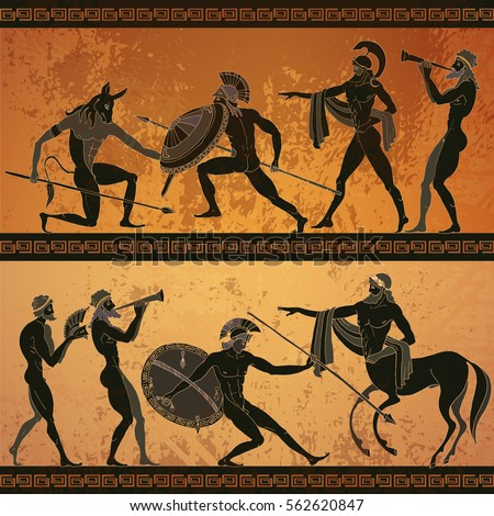 Ancient Greece banner. Black figure pottery hunting for a Minotaur, gods, warrior centaur. Classical Ancient Greek style #562620847