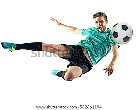 one caucasian soccer player man isolated on white background Royalty-Free Stock Photo #562661194