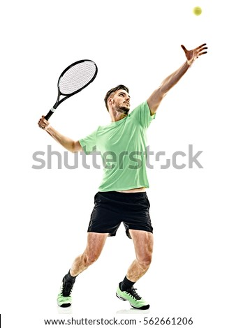 one caucasian  man playing tennis player service serving isolated on white background #562661206