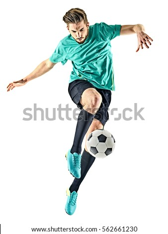 one caucasian soccer player man isolated on white background Royalty-Free Stock Photo #562661230