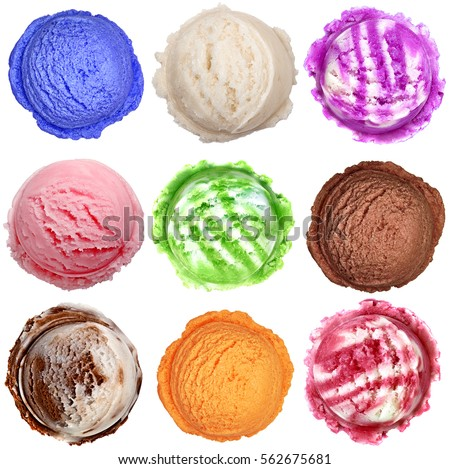 Colorful ice cream scoops isolated on white background #562675681