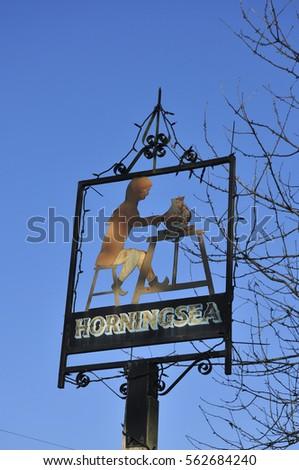 HORNINGSEA, CAMBRIDGESHIRE/UK - January 22, 2017. Horningsea village sign, Cambridgeshire, England, UK #562684240