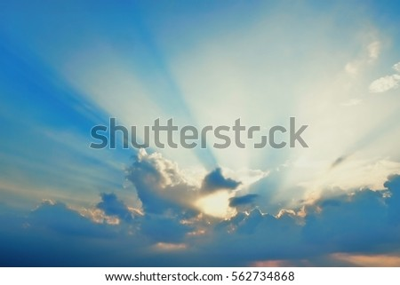 Golden heaven light Hope concept abstract blurred background from nature #562734868