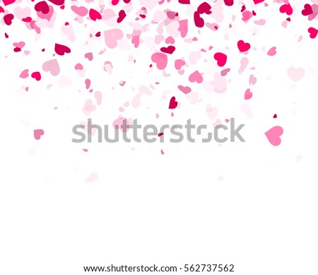 Love valentine's white background with pink hearts. Vector illustration.