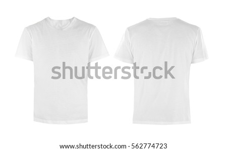 Front and back views of t-shirt on white background Royalty-Free Stock Photo #562774723