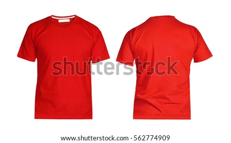Front and back views of t-shirt on white background Royalty-Free Stock Photo #562774909