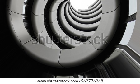 Modern architecture. Underside view of curvilinear balconies. Public or office building exterior fragment. Modular architectural structures. Industry or technology motif. Royalty-Free Stock Photo #562776268