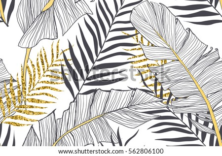 Seamless pattern with banana and golden palm leaves in vector