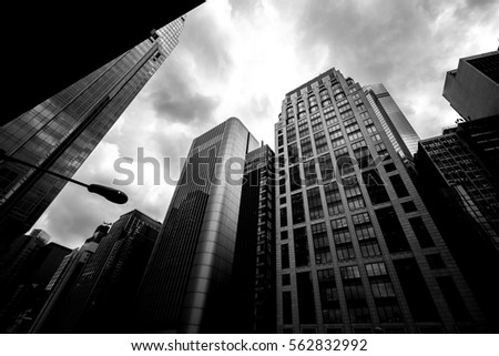 windows of commercial building in Hong Kong with B&W color #562832992