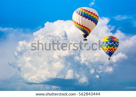Ballooning in the clouds. Unforgettable feeling of freedom. Artistic picture. Beauty world.