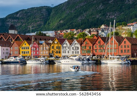 Bergen, Norway. View of historical buildings in Bryggen- Hanseatic wharf in Bergen, Norway. UNESCO World Heritage Site #562843456