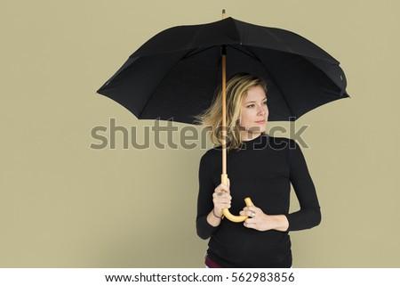 Caucasian Lady Black Umbrella Concept #562983856
