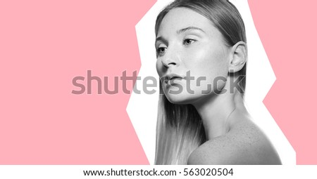 Design concept Black and white portrait of a girl on a pink background #563020504