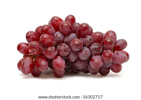 bunch of red grapes isolated on white #56302717