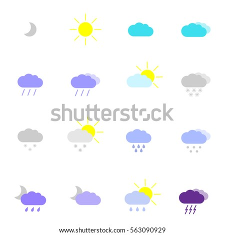 Set with weather icons in modern style. High quality symbols for web site design and mobile apps. Simple weather pictograms on a white background #563090929