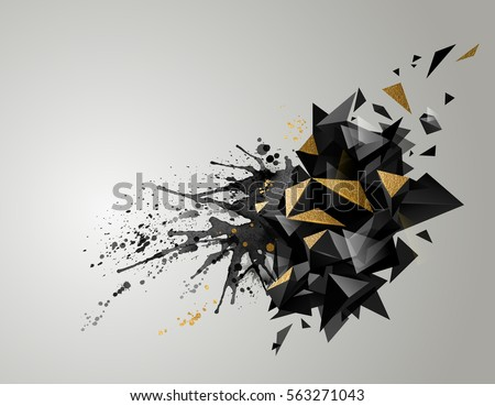 Geometric abstract banner with black color and gold texture. Modern geometric triangulars formed by artistic blots.  #563271043