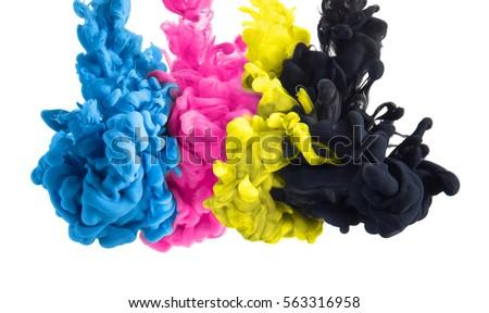 color splashes of ink in cyan magenta yellow black as symbol for subtractive CMYK color blending #563316958