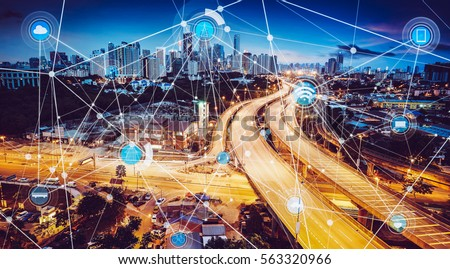 Smart city and wireless communication network, abstract image visual, internet of things Royalty-Free Stock Photo #563320966