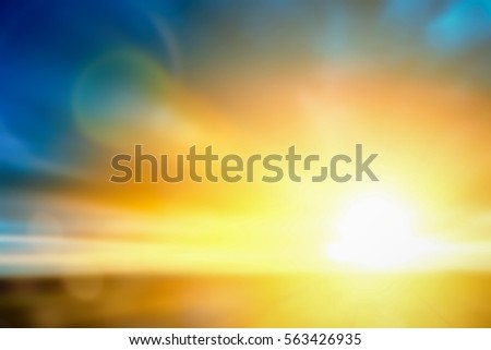 Abstract Blur bokeh of sunshine beach nature scenery background concept for ramadan 2018, holy spirit and christian theme, Wind pattern in summer Sunset Diwali. Book cover of mormon easter no people. Royalty-Free Stock Photo #563426935