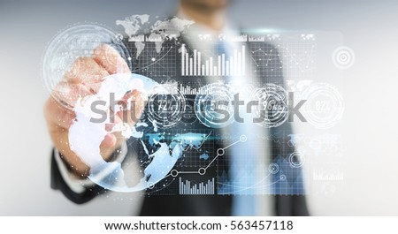 Businessman moving digital datas with a tactile pen on hologram screen 3D rendering #563457118