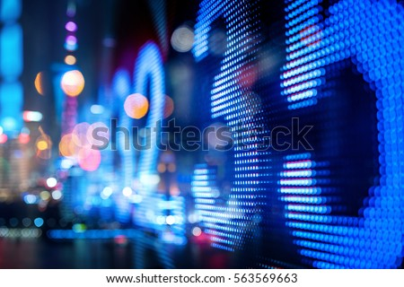 stock index numbers with city scene reflect on glass #563569663