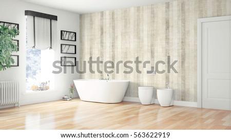 Modern bright interior . 3D rendering #563622919