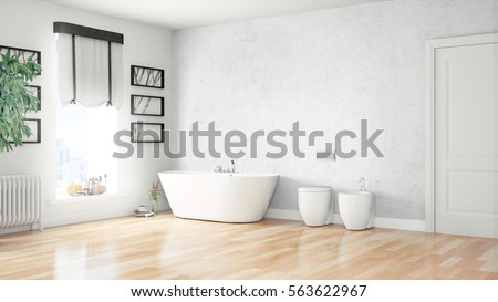 Modern bright interior . 3D rendering #563622967