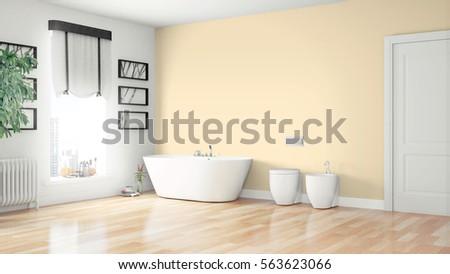 Modern bright interior . 3D rendering #563623066
