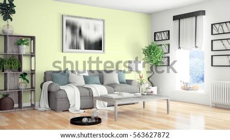 Modern bright interior . 3D rendering #563627872