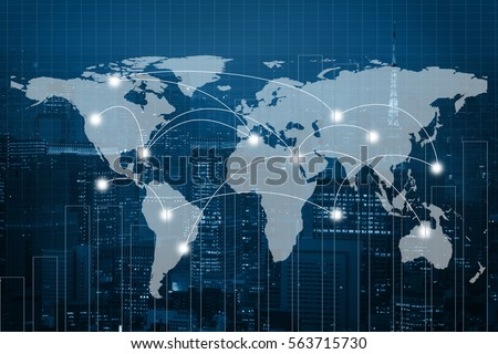 Global business connection concept. Double exposure world map on capital financial city and trading graph background. Elements of this image furnished by NASA Royalty-Free Stock Photo #563715730