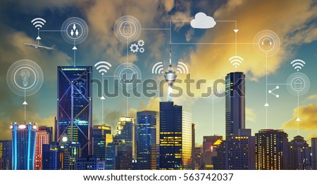 Smart city with smart services and icons, internet of things, networks and augmented reality concept #563742037