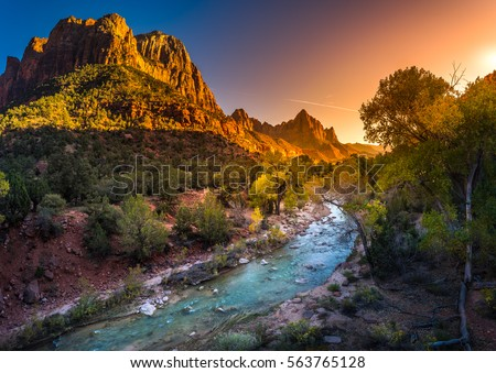 Zion National Park Fall Colors at Sunset Royalty-Free Stock Photo #563765128