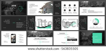 Green and black elements for infographics on a white background. Presentation templates. Use in presentation, flyer and leaflet, corporate report, marketing, advertising, annual report, banner. Royalty-Free Stock Photo #563835505