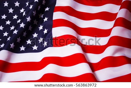 Beautifully waving star and striped American flag #563863972