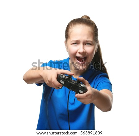 Pretty teenager playing videogame on white background #563891809