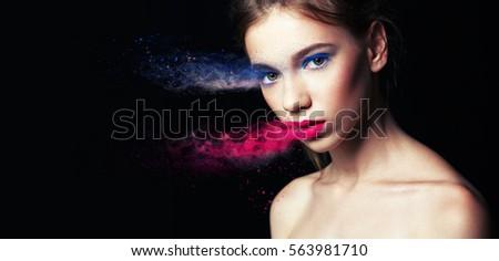 Beautiful Girl with creative make-up. photo Effect. Creative make-up, studio photo, photo processing. #563981710