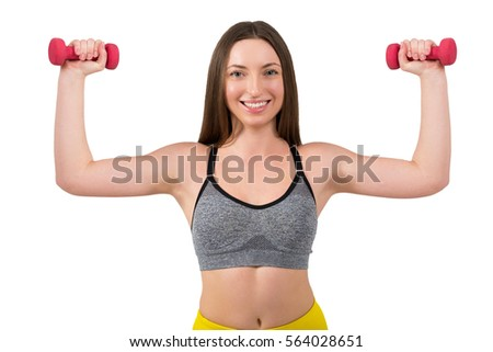 Portrait of a beautiful sports young woman on a white background #564028651