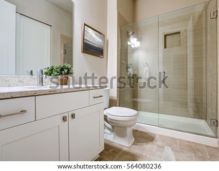 Transitional bathroom interior design in soft beige colors. Features glass shower with taupe tile surround and white vanity with modern shaker cabinets. Northwest, USA #564080236
