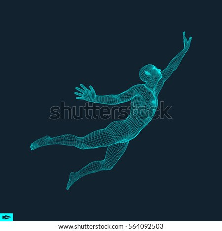 Business, Freedom or Happiness Concept. 3D Model of Man. Human Body Model. Vector Illustration. #564092503