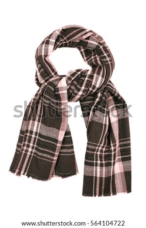 Brown wool scarf isolated on white background. Female accessory. #564104722