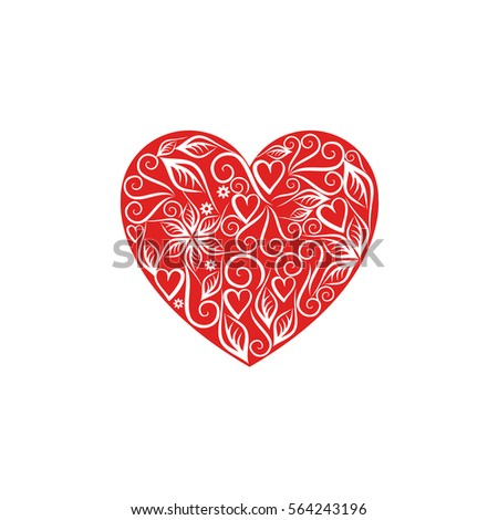 red heart with a white monogram patterns for valentine's day #564243196