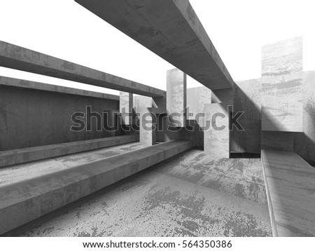 Abstract concrete geometric architecture background. 3d render illustration #564350386