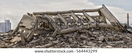 Collapsed industrial building panorama #564443299