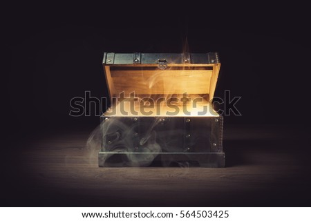 Mysterious treasure chest with smoke #564503425